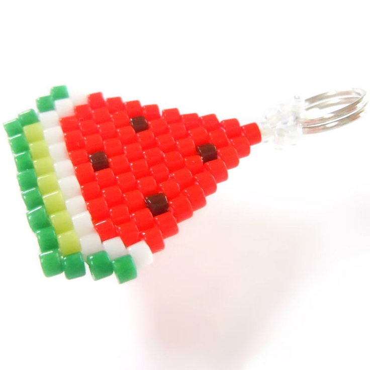 Brick Stitch Watermelon Charm, Seed Bead Pendant, Cute Jewelry