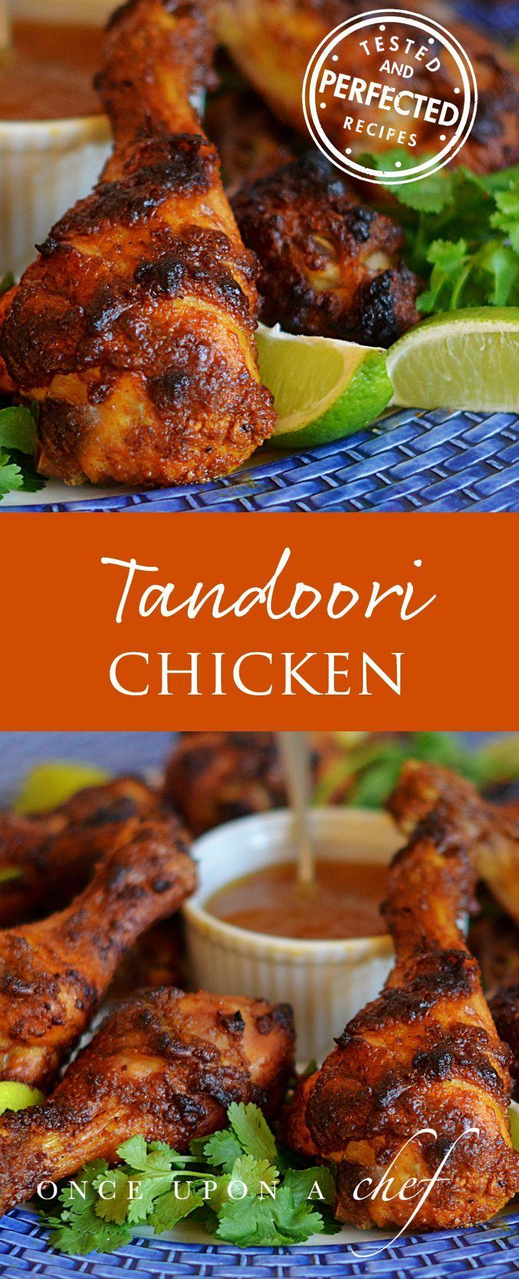 Crispy Tandoori Chicken Drumsticks with Mango Chutney -- add rice as a side