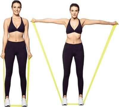 Elevação lateral De pé, pernas semiflexionadas e afastadas na largura do quadril, braços estendidos ao longo do tronco, segurando cada extremidade da faixa com uma das mãos. Eleve lateralmente os braços, até atingir a altura dos ombros. Retorne à posição inicial.