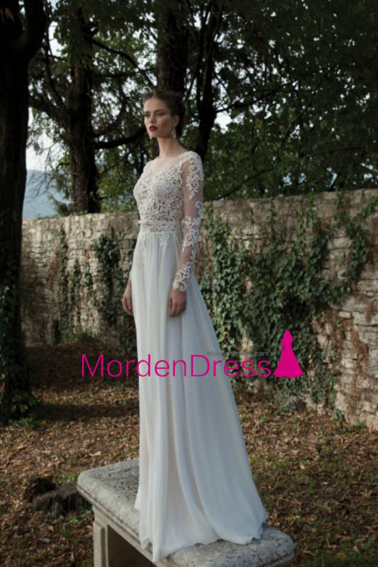 2016 Scoop A Line Wedding Dresses Long Sleeves With Applique And Sash