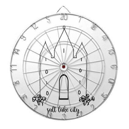 salt lake city utah temple simple modern dart board - kids kid child gift idea diy personalize design