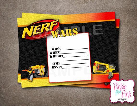 INSTANT Download Nerf Wars Invitation Birthday Party- Digital File Download Nerf Gun