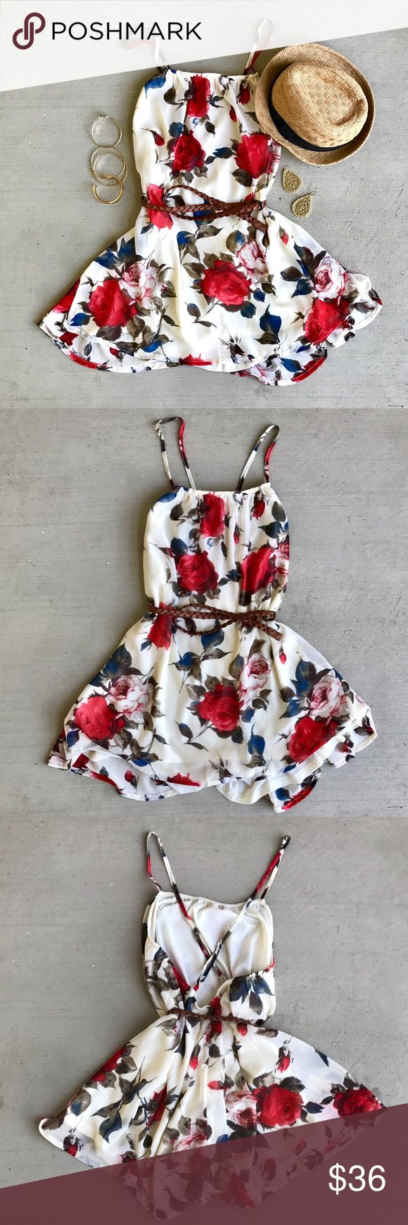 TOBI Floral Shift Dress Keep it cute & flirty in this floral shift dress. Pair with a belt to give the dress shape or with a jean jacket for cooler days!   •Lined •Criss-Cross Back  •Adjustable Straps •Polyester   ❥XO, Kay Tobi Dresses