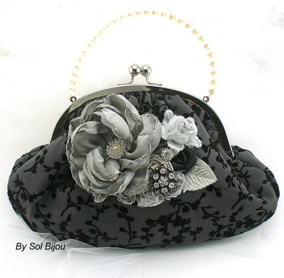 Bridal Mother of The Bride Purse Clutch in Black by SolBijou