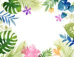 Lush Watercolor Tropical Frame with Flowers and Leaves
