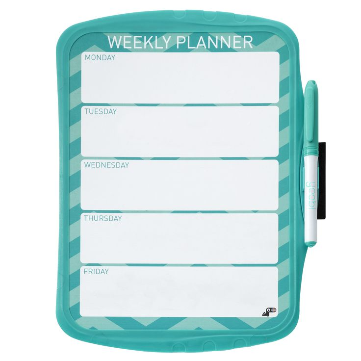 Magnetic Whiteboard Weekly Planner - Aqua Chevron