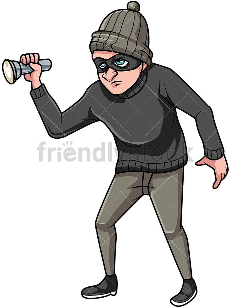 Thief Holding Flashlight: Royalty-free stock vector illustration of a male house burglar holding a turned on flashlight. He is wearing a mask and a beanie to hide his identity. #friendlystock #clipart #cartoon #vector #stockimage #art #thief #criminal #bandit #burglar #robber #outlaw #crook #bank