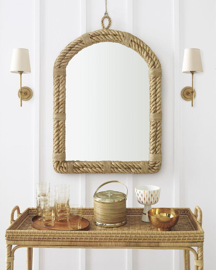 Nautical Rope Mirror And South Seas Bar Cart Via Serena Lily