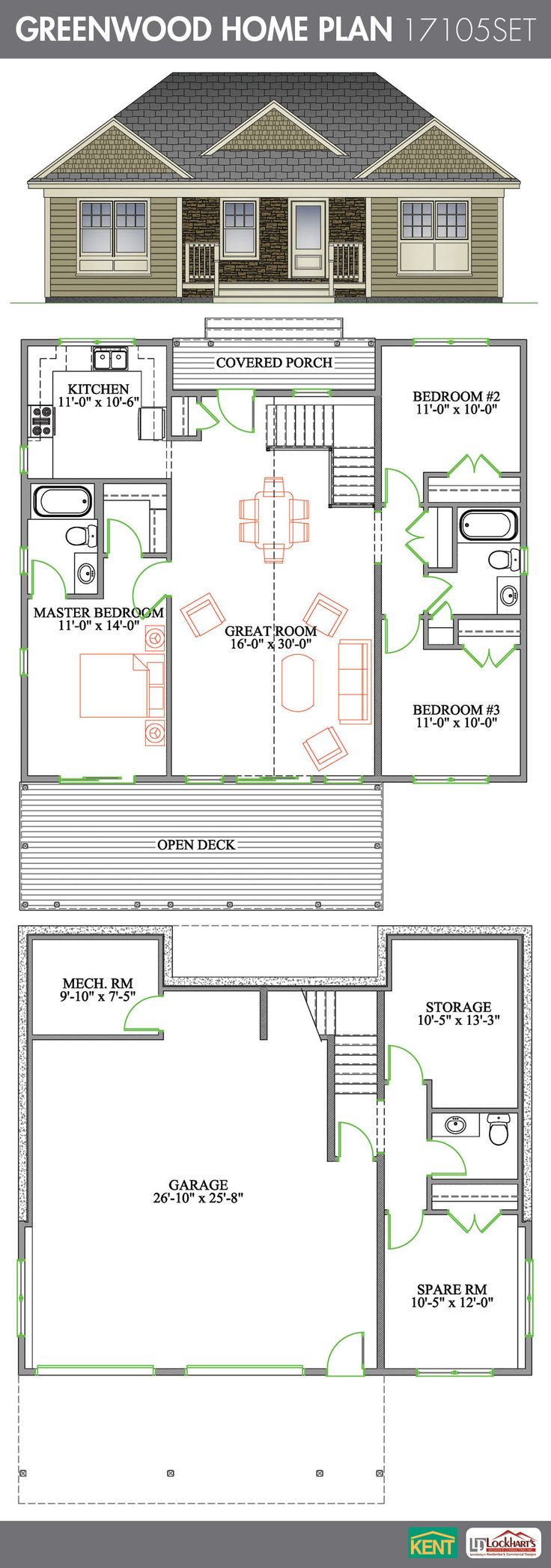 Greenwood 4 bedroom 2 1 2 bathroom home plan features for Cathedral ceiling house plans