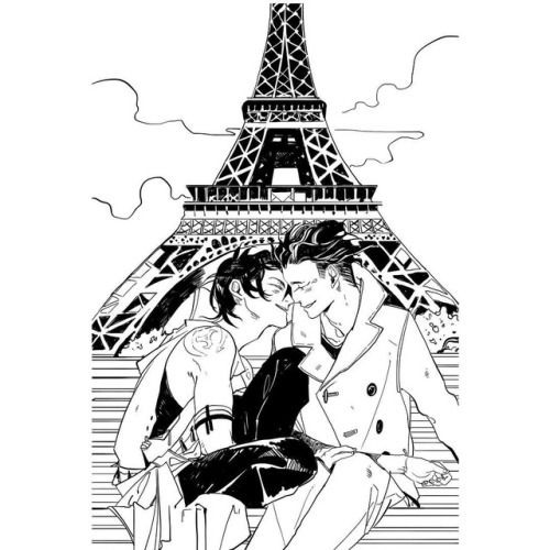 """cassandraclare: """"Magnus and Alec in The Lost Book of the White by me and @wes_chu – part of a triptych of drawings from the novel by Cassandra Jean Oooh - Paris! :) """" Cassandra Jean ----About halfway through drawing this, I decided I hated the Eiffel Tower. BUT MALEC..."""