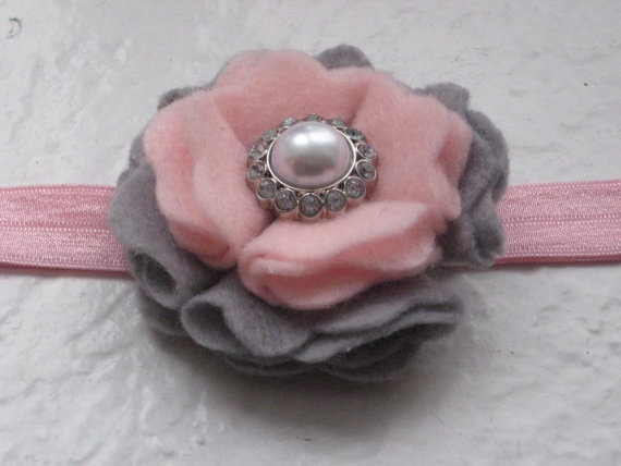 Beautiful Handmade Felt Flower Headband with Coordinating Button Center