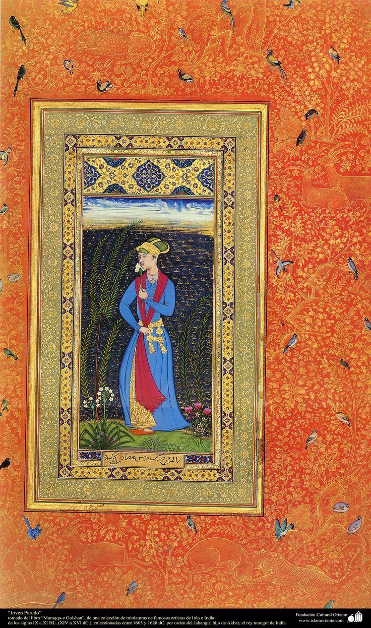 "1605 and 1628 AD - Young Dervish miniature book ""Muraqqa-e Golshan"" paradoxical. شاهکار مینیاتور فارسی - جوان بیکار - کتاب کوچک مرقع گلشن - 1605،1628"