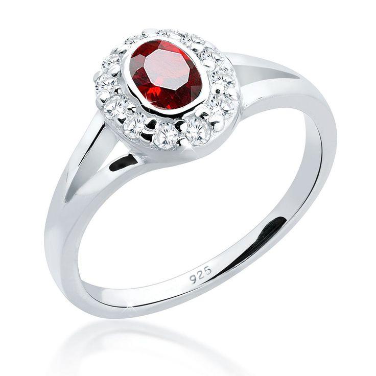 """Wunderbar klassischer Ring aus 925er Sterlingsilber besetzt mit einem ovalen Zirkonia (4x6mm) in Rot, der umgeben ist von 11 runden Zirkonia (1.5mm) in Weiß.  Weitere Hilfe zur Ringgröße:  Angegebene Größe in mm entspricht """"Ring Innen-Umfang"""", Umrechnung in """"Ring Durchmesser Ø"""" wie folgt:  52mm Umfang = 16,5mm Ø 54mm Umfang = 17,2mm Ø 56mm Umfang = 17,8mm Ø 58mm Umfang = 18,4mm Ø  Produktdetail..."""