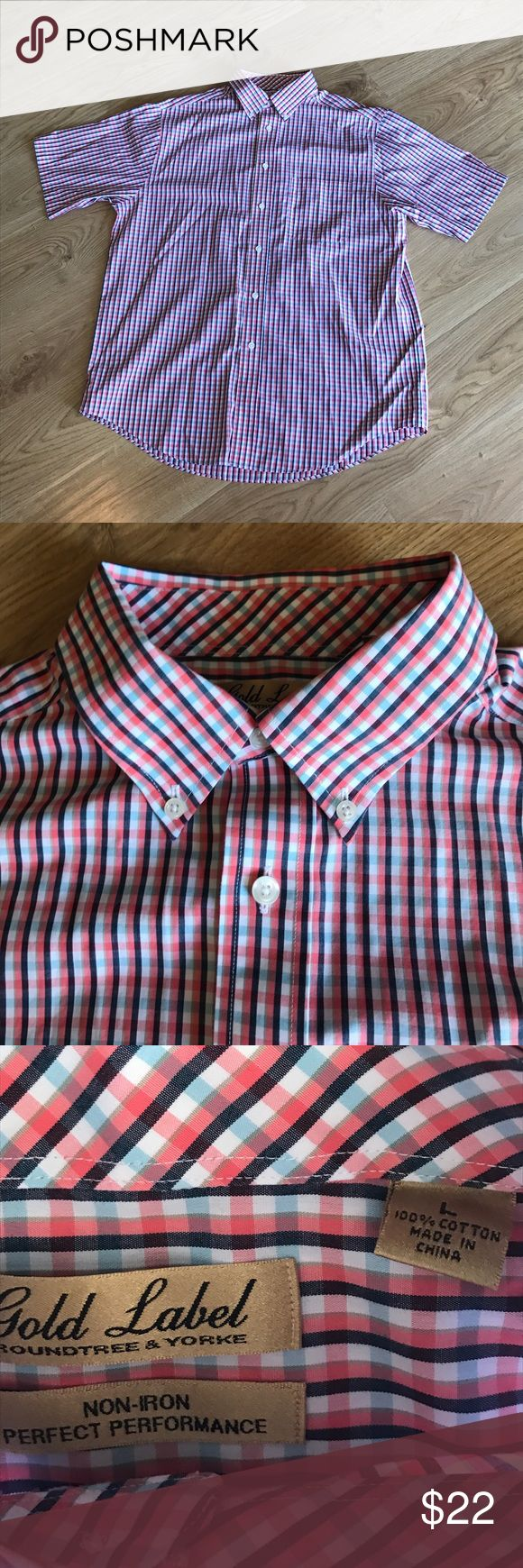 Men's plaid shirt sleeve shirt Handsome red,white and blue plaid shirt size Large. Excellent condition and from a smoke free home. Roundtree & Yorke Shirts Casual Button Down Shirts