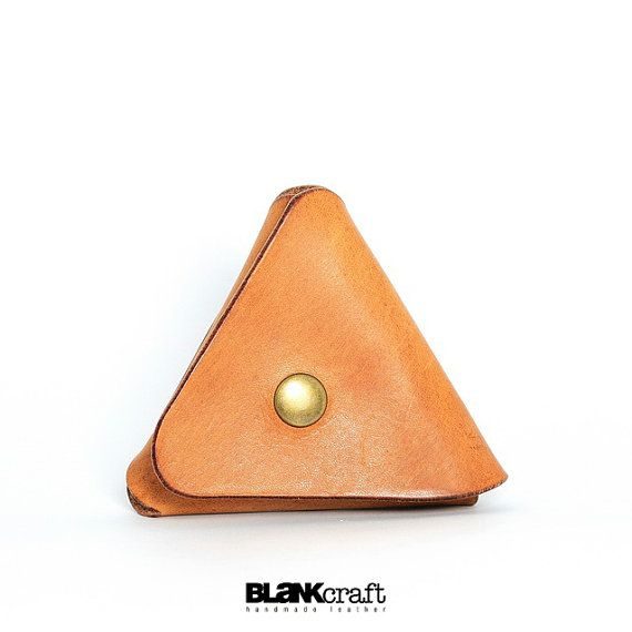 Caramel Brown Triangle Style Leather Coins Bag by BLaNKcraft, $29.99