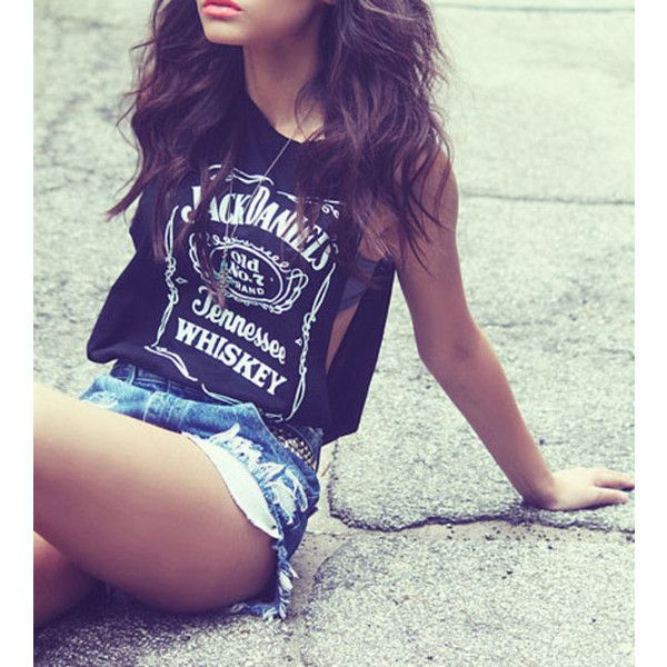 Jack Daniels Deep-Cut Side Tanktop from ShopWunderlust on Storenvy ❤ liked on Polyvore featuring icons, outfits, cute, girls and pics