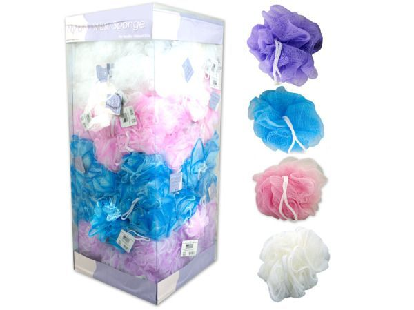 Nylon Mesh Body Sponge Display, 144 - Body sponges cleans while softening and reviving skin. Each sponge is made of nylon and has a hanging rope. Colors include: purple, blue, pink and white. Sponges come packaged in a display. There are 144 sponges per display.-Colors: white,blue,purple,pink. Material: nylon. Weight: 0.2344/unit