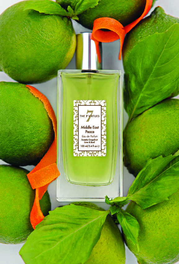 Middle East Peace Eau de Parfum - Sweetie Grapefruit of Israel with Lime and Basil of Iran - an ambrosial blend with a warm cedar wood dry down. Peace is for all humankind. The scent of peace www.the7virtues.com $70