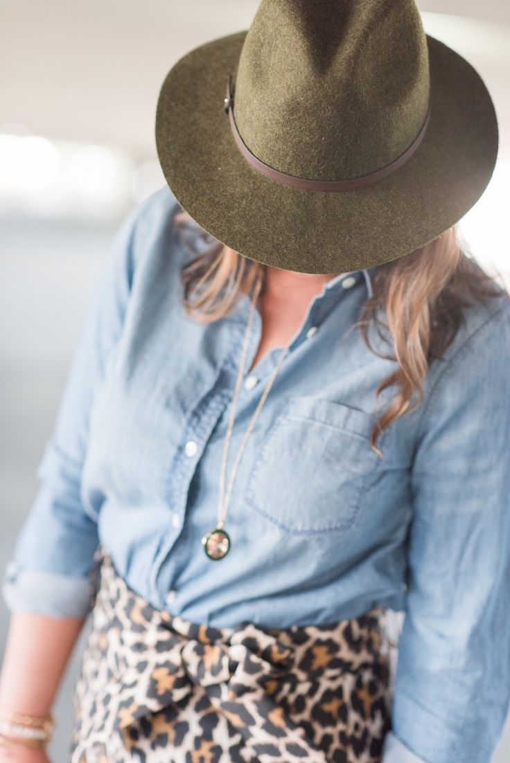 Chambray, olive green felt hat and leopard!
