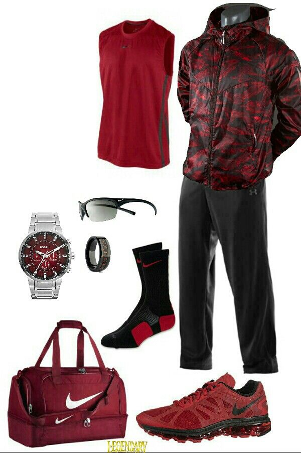 Red black nike outfit