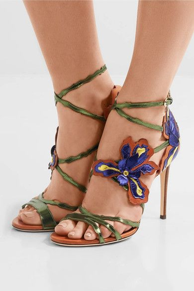 Heel measures approximately 95mm/ 4 inches Multicolored leather Buckle-fastening ankle strap Made in Italy