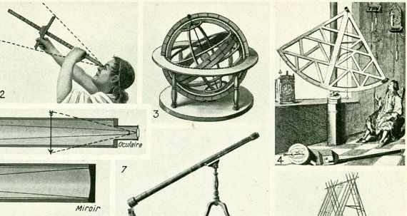 1948-astronomie instrumenten meten telescoop door sofrenchvintage