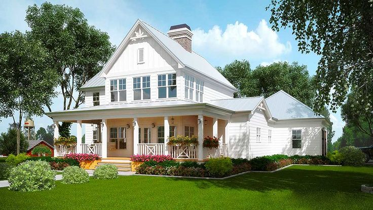 <div><ul><li>Accents of board and battan siding, metal roofing and decorative wood trim adorn this honey of a Farmhouse house plan that is exclusive to Architectural Designs.</li><li>Step into the huge two-story family room right off the wrap-around front porch.</li><li>The see-through fireplace warms the the dining room on the other side.</li><li>From the kitchen you can see it all, with the open layout allowing for wonderful sight lines.</li><li>The master suite is the only bedroom on…