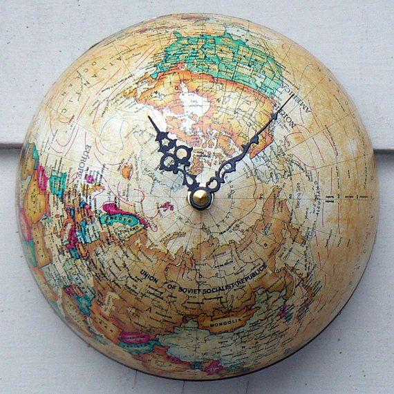 Globe Clock.  Just so happens my globe is broken in half!   Cute for the boys room.