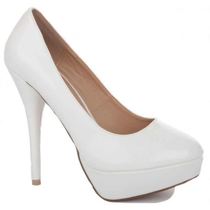 Parlak Beyaz Rugan Platform Ayakkabı