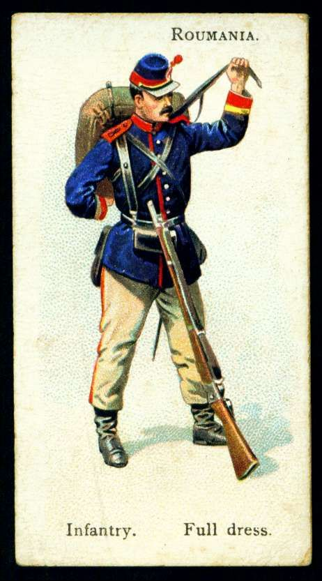 "Roumania, Infantryman, Full Dress - Wills's Cigarettes,  ""Soldiers of the World"" (series of 100 issued in 1895) 