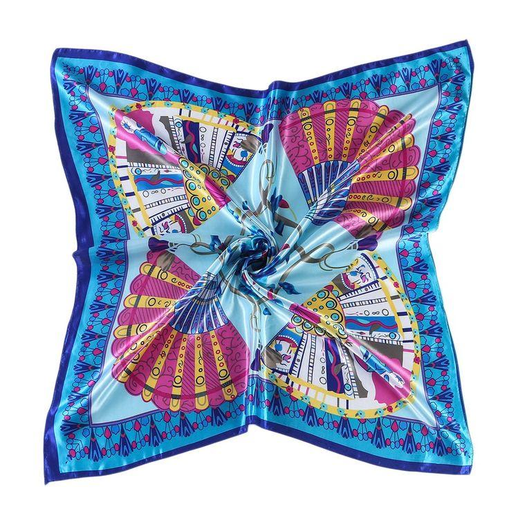 """CS&BEAUTY Women's Neckerchief 35""""X35"""" Fan Pattern Square Scarf Headdress (Blue)"""