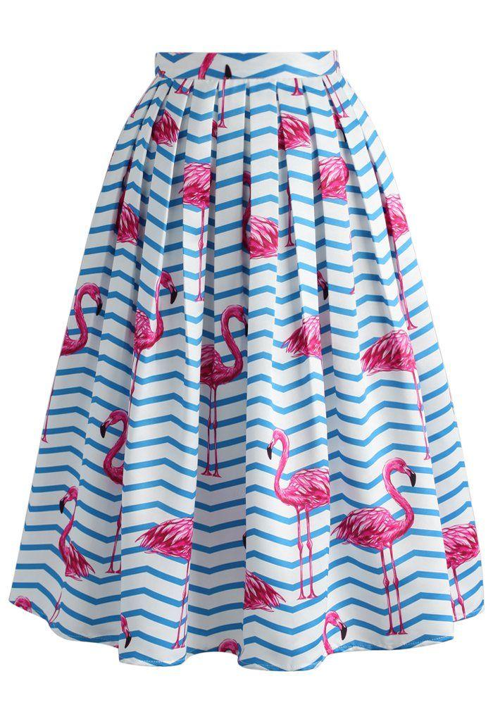 Flamboyantly Flamingo Printed Midi Skirt - New Arrivals - Retro, Indie and…