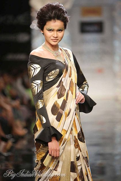 Masaba printed saree with off-shoulder blouse