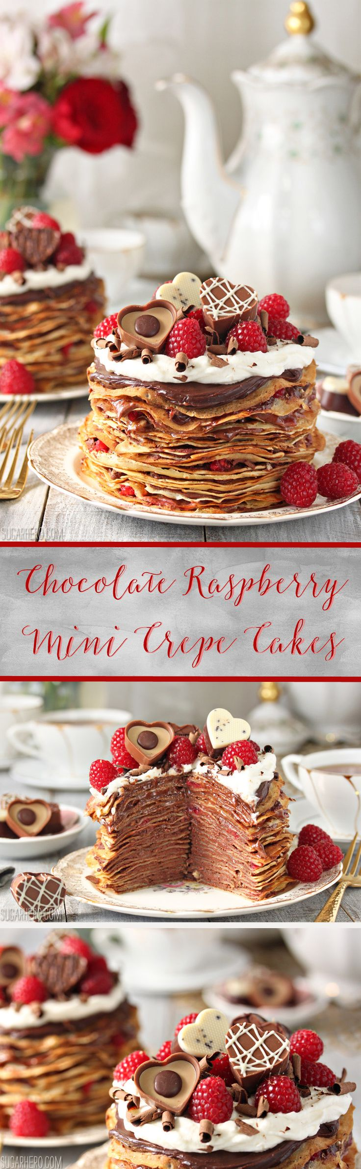 Chocolate Raspberry Mini Crepe Cakes are cakes made from mini crepes! Stack them with raspberry-chocolate ganache and top them with whipped cream!