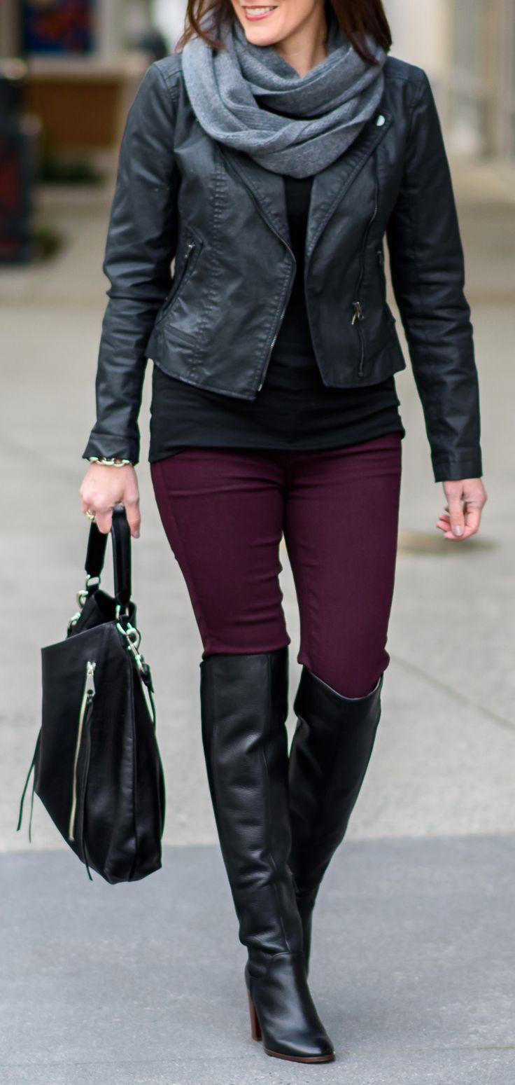 Classy with a side of edgy... | Infinity Scarf | Moto Jacket | Fall Outfit | Over the Knee Boots | Burgundy Jeans | Fashion Over 40
