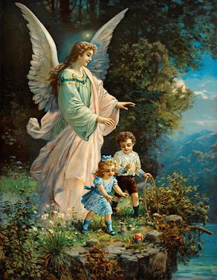 Vintage Gaurdian Angel ~ Violeta lilás Vintage