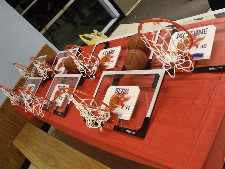 Basketball Senior Night Gift Idea. Hoops ordered from SKLZ.com. No shipping or tax. $29.99 each. Personalize it with the stickers sent by the company and design your own sticker on their website. Had the team sign all the hoops too. They loved them! PERFECT!