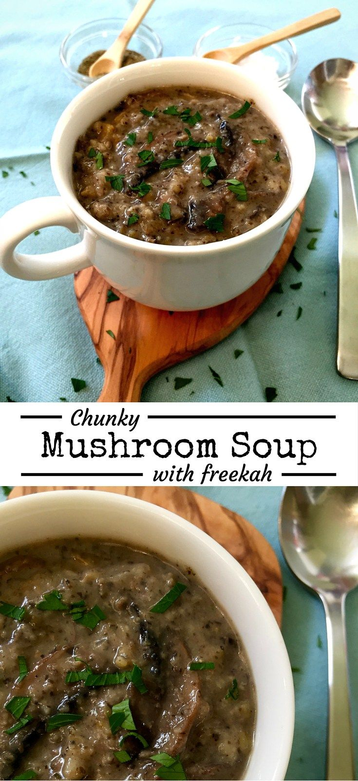 Rich delicious mushroom soup made into a meal with hearty freekah. Chunky and filling, this delicious vegan soup is real comfort food. A family favourite! #soup #comfortfood #grains #vegan