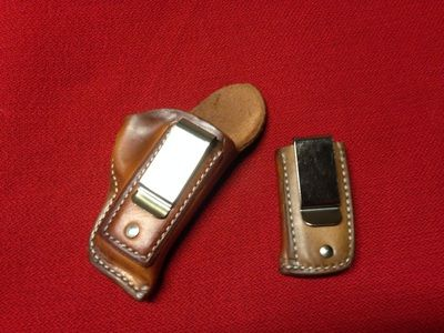 Inside-The-Waist-Band Holster - Natural with Nickel-Plated Clips with ITWB Magazine Carrier