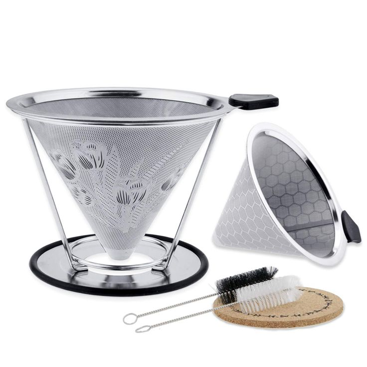 YUKIKO Coffee Filters Stainless Steel, Reusable Pour Over