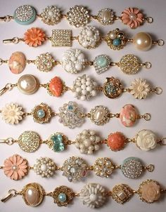 Make heirloom bracelets out of old earrings.... would make a cool set for sisters and moms for Mothers day... or for bridesmaids.