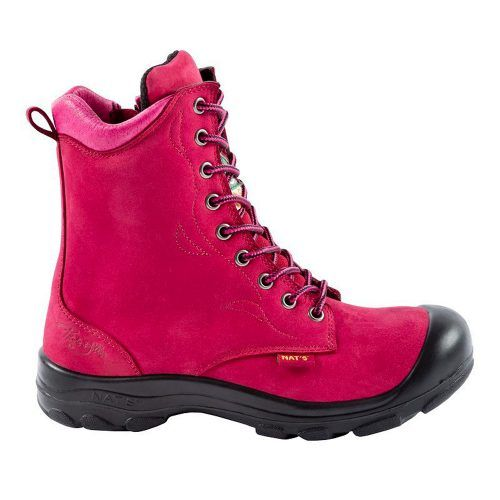 Steel toe work boots for women. Raspberry colour. CSA approved.