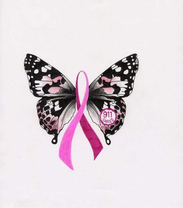 Breast cancer butterfly ~ Kinda fun to find MY artwork all over Pinterest. I had no idea. Get it on a TShirt or a BEAUTIFUL pin and support dispatchers fighting breast cancer here - shop.911cares.com...