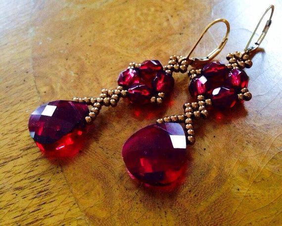 Long red crystal earrings, long red earrings, red dangle earrings, red Statement jewelry, marsala red bridesmaid gift, long earrings, EBW