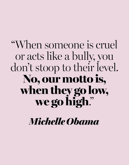 """When someone is cruel or acts like a bully, you don't stoop to their level. No, our motto is, when they go low, we go high."" —Michelle Obama at the 2016 Democratic National Convention"
