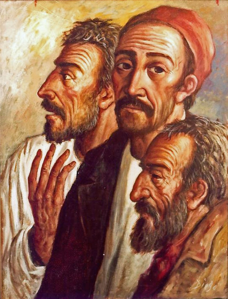 """DiegoVoci™ """"Group of Fisherman"""" ca. 32"""" x 24"""", oil on canvas.   """"Two valuable paintings on display in the lobby of The Lodge at Vail were discovered missing Sunday morning, according to Marsha Largent, representative of the Diego Voci art display.""""    """"The two paintings, entitled """"The Gypsy"""" and """"Group of Fishermen"""" are part of a display of the paintings of Diego Voci, a world-renown Italian contemporary artist."""""""