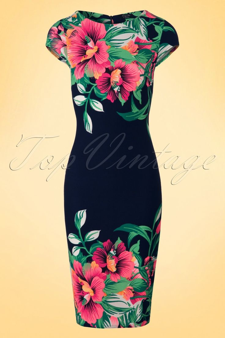 This colourful60s Aloha Tropical Garden Short Sleeves Pencil Dress is not for wall flowers!  Whether the sun shines or not, the bright neon colours will brighten up your day! The tropical flower print pops out even more due to the classic cutof this retro wiggle with cap sleeves and high round neckline.Made from a stretchy, structured dark blue fabric that hugs your curves in all the right ways.Aloha pretty mama!   High round neckline Cap sleeves Hidden zipper at...