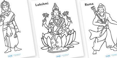 Kleurplaten (Divali, hindoeisme)