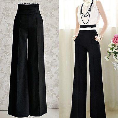 Women Sexy Fashion Casual High Waist Flare Wide Leg Long Pants Palazzo Trousers