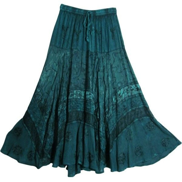 Indian Tiered Stonewashed Embroidered Gypsy Long Maxi Skirt... ($49) ❤ liked on Polyvore featuring skirts, teal maxi skirt, embroidered maxi skirt, gypsy skirt, tiered skirt and long maxi skirts